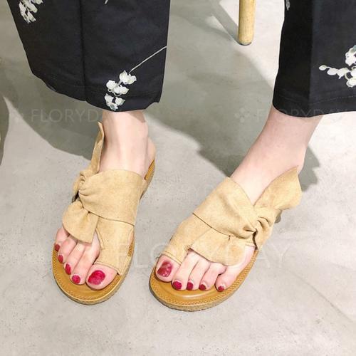Bowknot Faux Suede Sandals