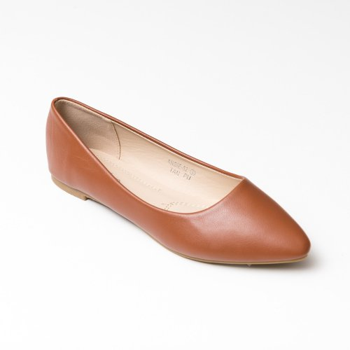 Smooth Pointed Toe Tan Flats