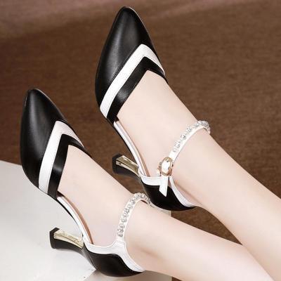Spool Heel Panel Color Block Imitation pearls Date Shoes