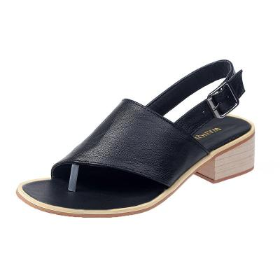 2020 Summer New Korean Round Head Leisure Buckle Flat Sole Big Size Women's Sandals