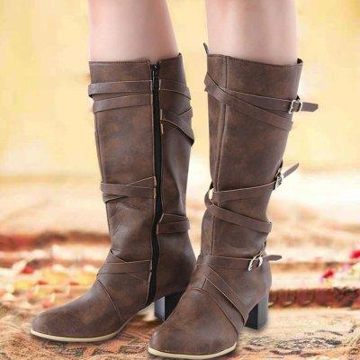 Pu Crisscrossed Buckle Medium Chunky Heel Mid-Calf Winter Boots