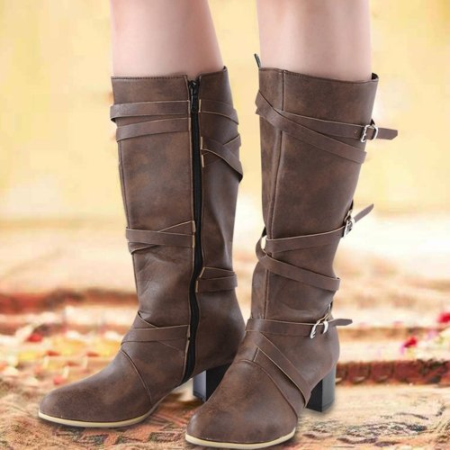 Pu Crisscrossed Buckle Medium Chunky Heel Mid-Calf Winter Boots