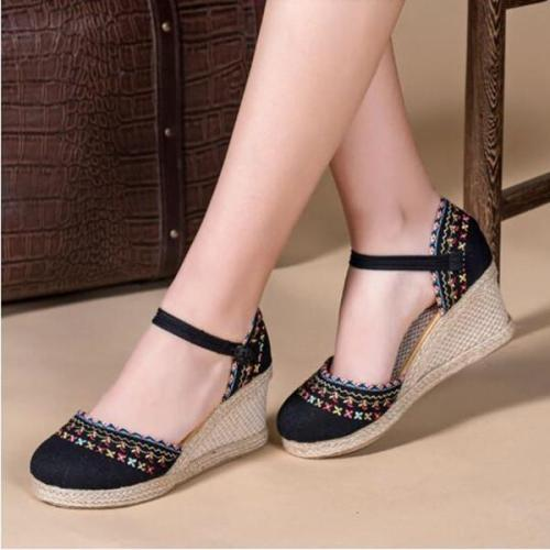 Folkways Floral Embroidery Straw Wedges Cloth Sandals