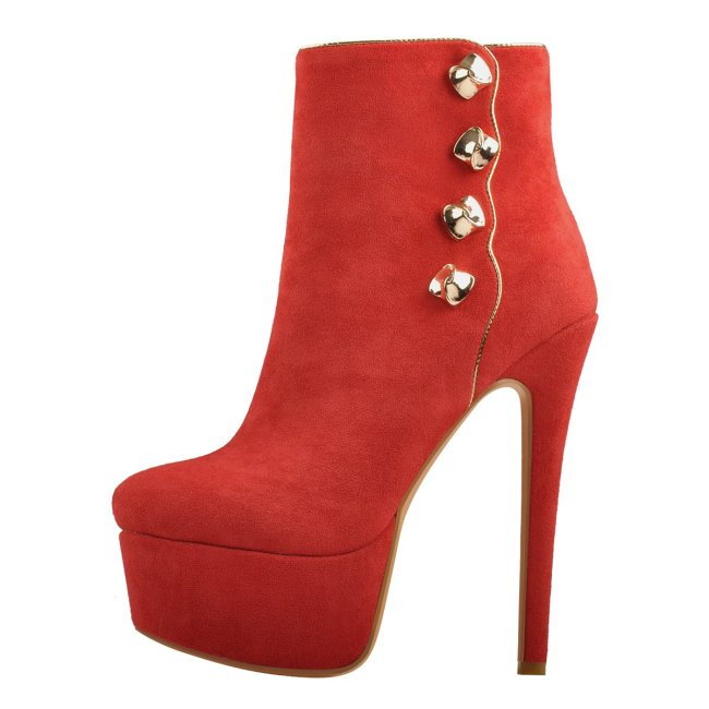Platform Red Suede Gold Button Stiletto Ankle Boots