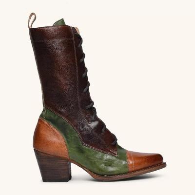 Women Mid-calf Chunky High-heel Boots