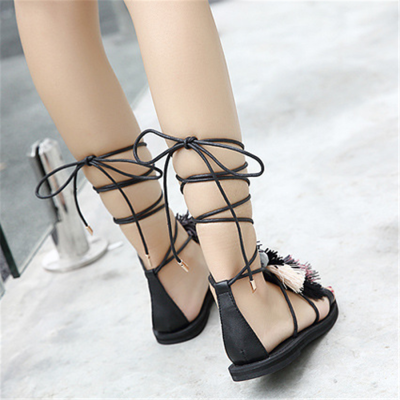 Ethnic Style   Color Tassel Ball Tie Flat Sandals