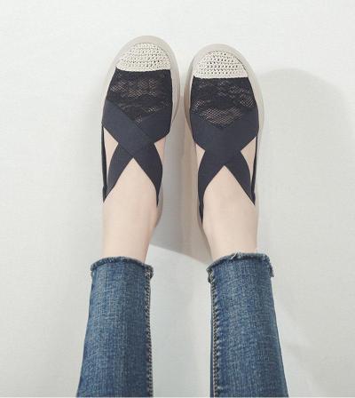 Platform Woman Summer Sandal Low Fashion Retro Sewing Mesh Flats Elastic Bandage