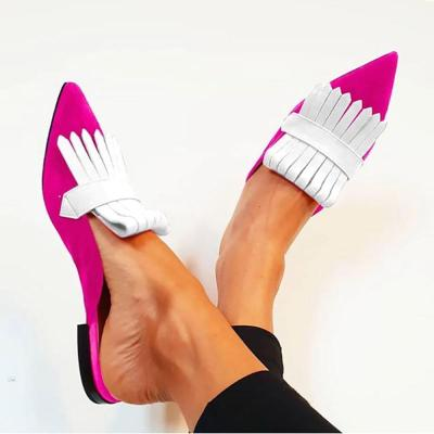 Women Chic Color Block Fringe Flat Slip-On Sandals