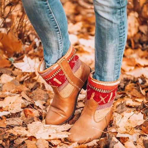 Fashion Irregular Printed Leather Boots