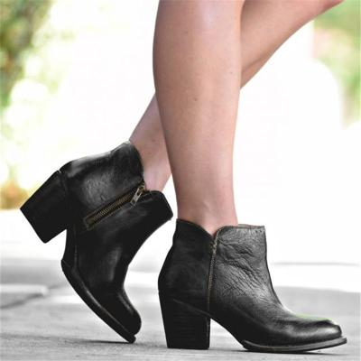 Style Gradient Color Chunky Heels Ankle Boots
