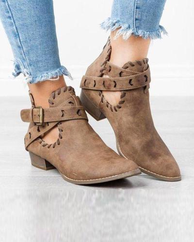Solid Block Heeled Belted Booties