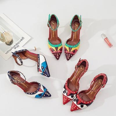 Fashion Rivet Thin Heel Pointed Sandals