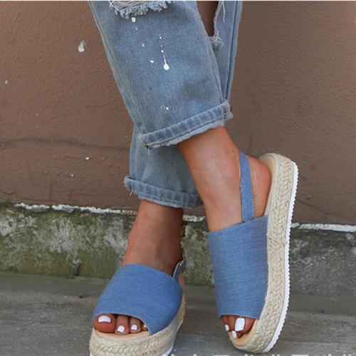 Espadrille Open Toe Wedge Sandals