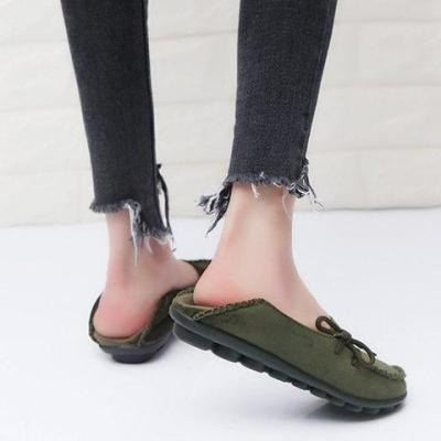Women Flocking Flats Round Toe Style With Bownot Plus Sizes