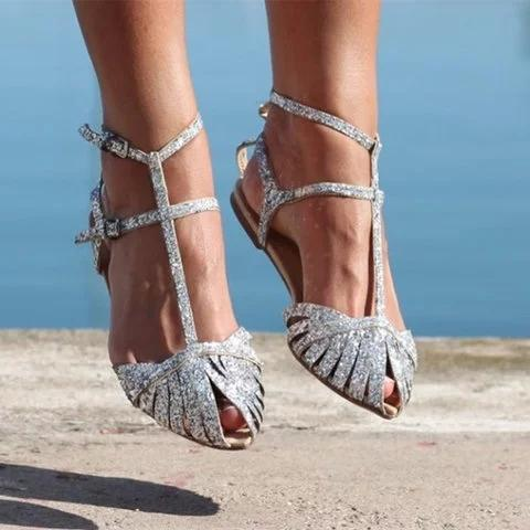 Women Shiny Gladiator Sandals Flat Heel Shoes