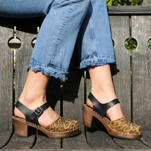 Women Chunky Heel Round Toe Buckle Strap Sandals