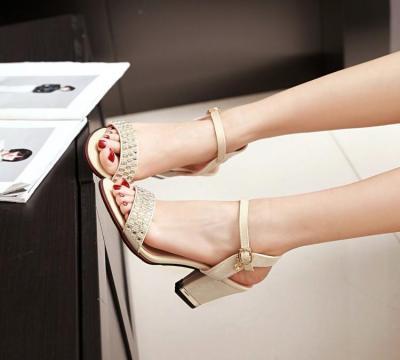 High Heel Bling Crystal Ladies Sandals Chunky Heel Female's Summer