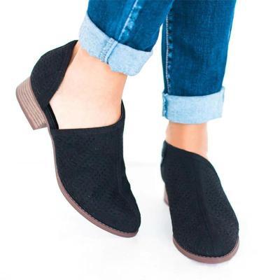 Women Low Heel PU Slip-On Shoes Hollow Chunky Heel Boots