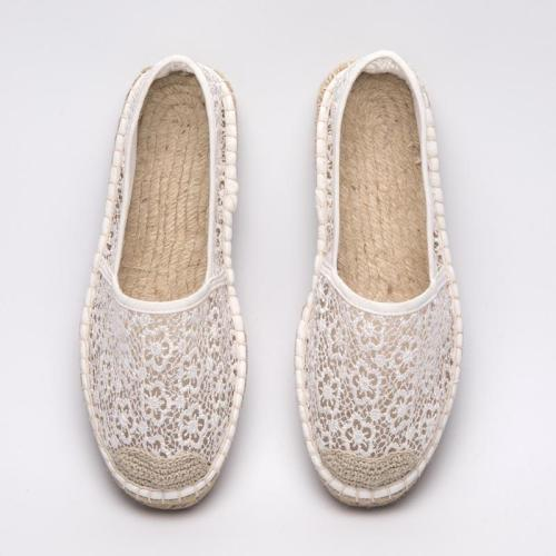 Women Casual Plus Size Hollow-out Espadrilles Slip-On Laced Loafers
