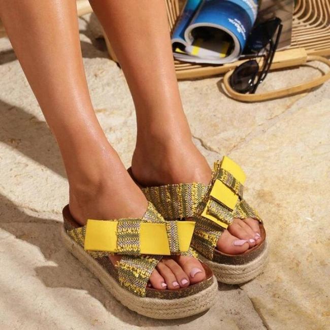 Platform Sandals Peep Toe Bowknot Boho Women Slippers