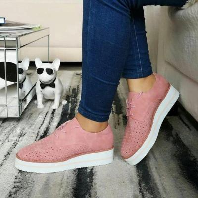 Hollow-Out Wedge Heel Lace Up Summer Sneakers