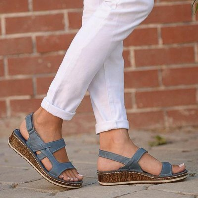 Ladies Summer Hollow Out Wedge Buckle Sandals Casual Shoes Female Soft