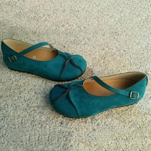 Women's Adorable Round Toe Solid Buckle Flats