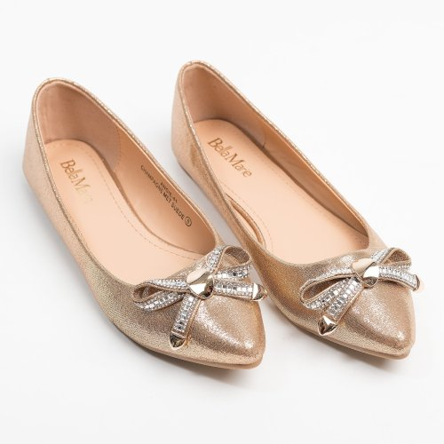 Bow Point-Toe Champagne Flats