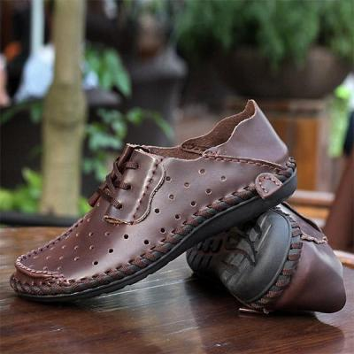 Mens Large Size Hollow-out Lace-up Flat Shoes Loafers