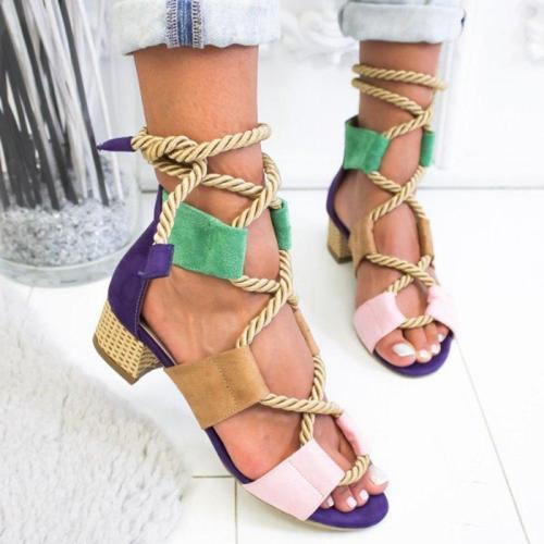 Boho Style Color Block Crisscross Medium Heel Sandals