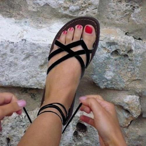 Ladies Ankle Strap Flats Flip Flops