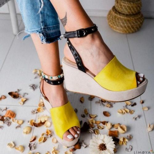 Women Buckle Strap Open Toe Sandals