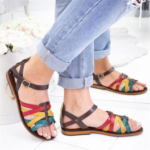 Multicolor Crisscross Buckle Hollow Flat Sandals