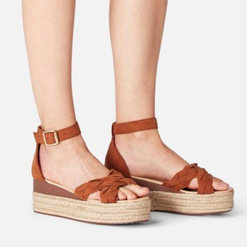 Women's Peep Toe Buckle Strap Espadrille Wedge Heel Sandals
