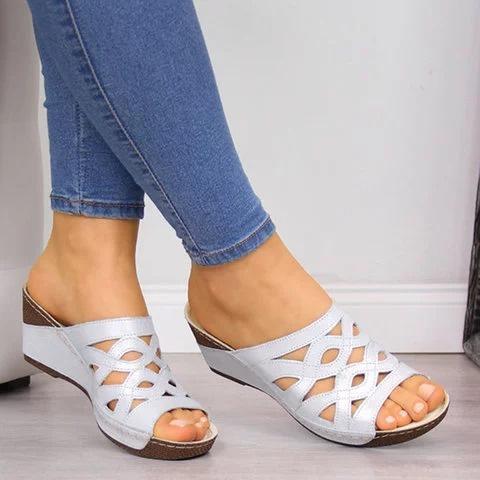 Hollow Peep Toe Summer Wedges Mules Sandals
