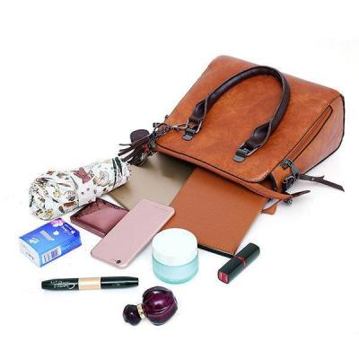 4 PCS Vintage Multi-function Handbag Faux Leather Crossbody Bag