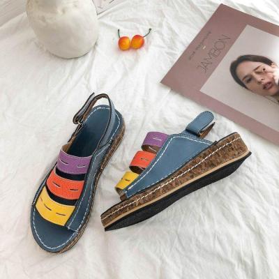 Color Block Hollow Hook&Loop Casual Wedges Sandals