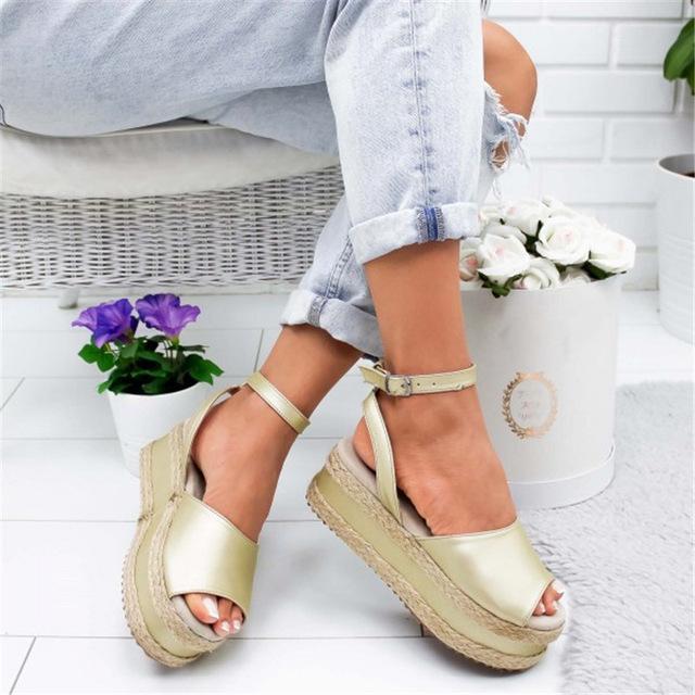 Women Ankle Strap Open Toe Wedge Sandals