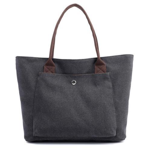 Canvas Pure Color Casual Tote Bag Handbag