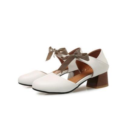 Sweet Gingham Ribbon Bowknot Hollow Medium Chunky Sandals