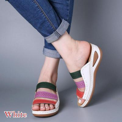 Beach Sandals Open Toe Wedges Vintage Shoes Woman Mid Heels Sandal Slippers