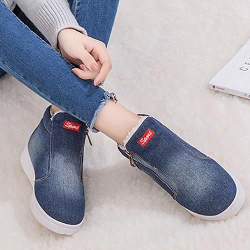 Ankle Denim Casual Zipper Women Boots