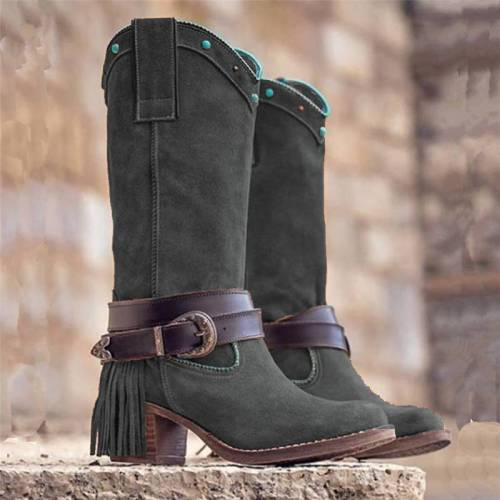 Women Casual Slip-On Low Heel Mid-Calf Tassel Boots