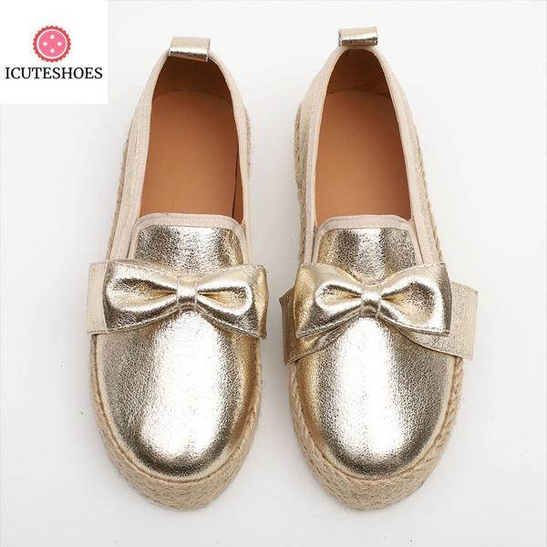 Flats Platform Sneakers Slip On Bows Flats Canvas Pu Ladies Loafers