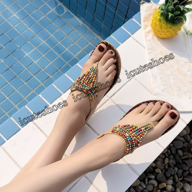 Women Flat Sandals Bohemian String Bead Summer Shoes Flat Sandals Women