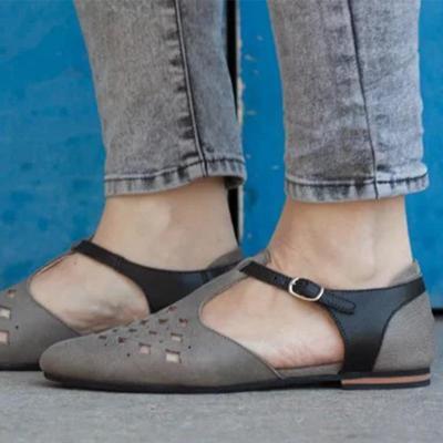 Women's PU Point Toe Adjustable Buckle Flat Sandals