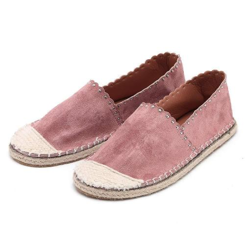 Women's Classic Casual Round Toe Flat Suede Straw Slip-On Rome Style Loafers