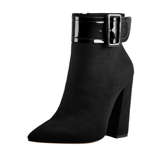 Pointed Toe Chunky Heels Ankle Patent Leather Buckle Suede Boots