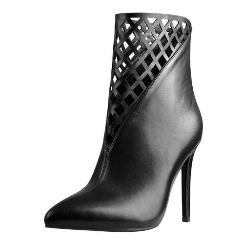 Pointed Toe Hollow Network Stiletto High Heel Ankle Boots