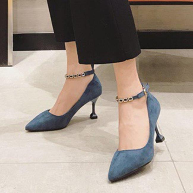 Rhinestone Buckle Elegant Heels